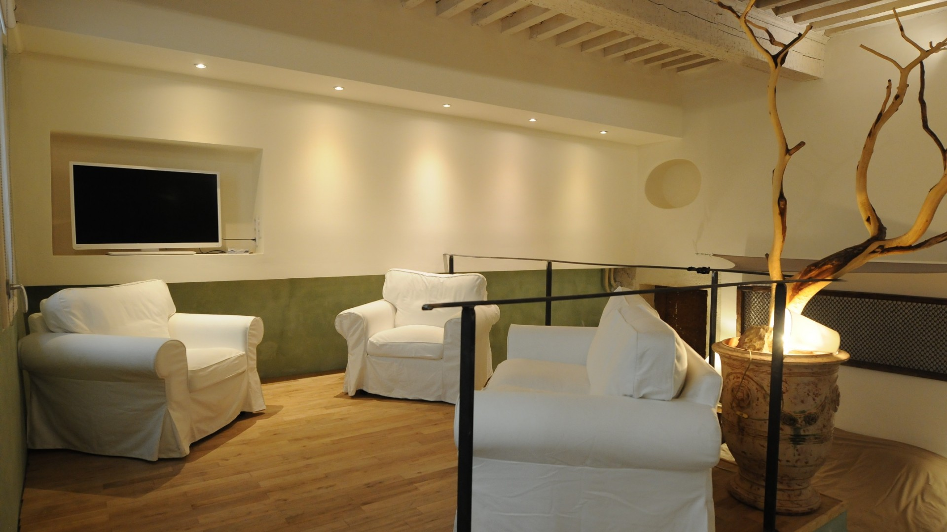 Living room corner on an platform on the window level